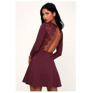 NWT Lulu's Felicity Plum Backless Skater Dress